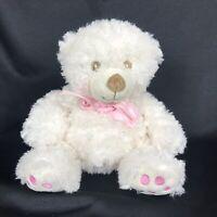 "Unipak Baby Girl Teddy Bear 12"" Stuffed Animal Soft Plush Toy Ivory/Pink Squishy"