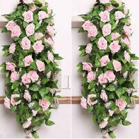 2.4M Artificial Rose Flower Ivy Leaf Fake Foliage Vine Wedding Garland Plant 8ft