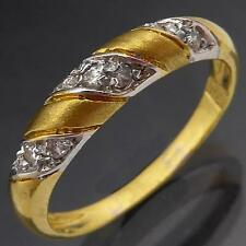 Spiral 18k Solid Yellow GOLD 9 CUBIC ZIRCONIA CZ ETERNITY BAND / RING Sz M1/2