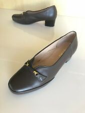 Allino Size 7c Dark Brown Leather & Gold Buckle Court Shoes Quality & Comfy #B35