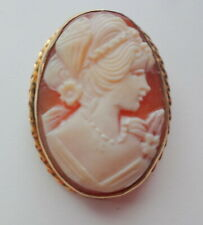 Victorian Carved Shell Cameo Lady 14k GF Gold Filled Pin Brooch Pendant