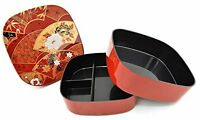 "Japanese 6""W Lacquer Sensu Fan Lunch Bento Stack Box 2-Tier Red, Made in Japan"