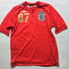 Men's Umbro Red 2006-2008 England Away Football Shirt '#87 Padley'  Size M