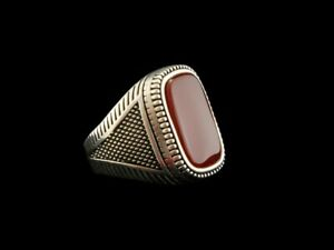 Handmade 925 Sterling Silver Men Ring Turkish Ottoman Style Size 9.5  Red Ruby