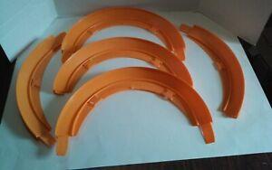 Lot of 5 Junk Hot Wheels Red Line Era Track Hot Curve Hot Turn Orange 1:64