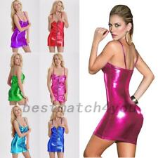 1x Sexy Women Shiny PU Leather Slim Fit Sheath Bodycon Cocktail Party Mini Dress