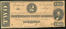 1864 $2 Two Dollars Csa Confederate States Of America Uncirculated