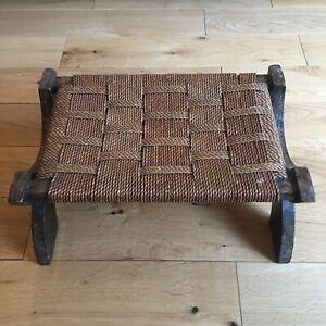 SEAGRASS Footstool Unusual Legs Traditional Vintage Wood Woven