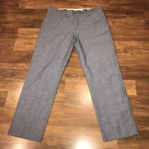 Mens 33 30 J.CREW Pants Blue Chambray Cotton BEDFORD Fit Flat Front Dress