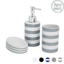 Bathroom Accessory Set, 3 pcs - Soap Dispenser, Dish & Tumbler - Grey Stripe