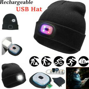 USB LED Beanie Hat Head Light Lamp Knit Warm Cap Rechargeable Outdoor For Unisex