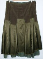 Laura Ashley Green Fit & Flare Midi Office Career Skirt / Size 12