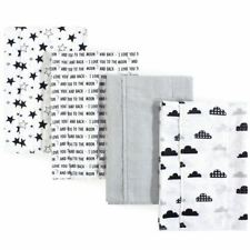 Hudson Baby Boy and Girl Flannel Burp Cloth 4-Pack, Moon and Back