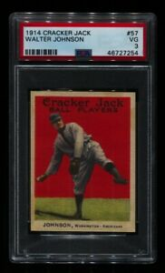 1914 CRACKER JACK WALTER JOHNSON #57 SENATORS HOF PSA 3 NRMT MUCH BETTER! READ