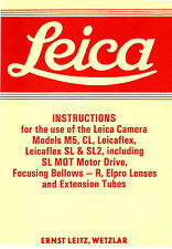 LEICA M5-CL-LEICAFLEX CAMERA INSTRUCTION MANUAL -LEICA M5-CL-LEICAFLEX SL-SL2