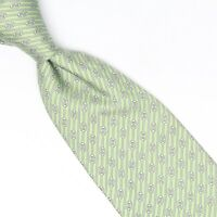 Hermes Paris Mens Silk Necktie Light Green Gray Stripe Print Tie 5500 UA France