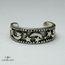 Solid 925 Sterling Silver Toe Ring Stars & Moon Design Ladies, New with Gift Bag