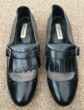 Ladies Dune Brown Black Patent Slip On Brogue Loafer Shoes Size 7 SB11