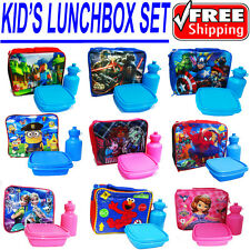 NEW KIDS INSULATED LUNCH BOX SET SCHOOL BAG FROZEN THOMAS CARS SPIDERMAN PAW