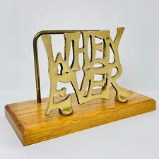 Vintage WhenEver Brass Wood Letter Paper Holder Desk Office Organizer 1970s