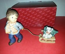 Goebel Nina Marco Figurine Child Pulling Sled with Dog & Christmas Tree - Boxed