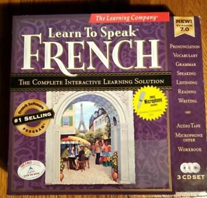 Learn To Speak French 3 CD-ROM Set VER 7.0 Free Microphone New