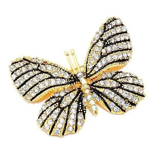 New Austrian Crystal Monarch Butterfly Brooch Gold Plated Pin
