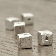 100stk. Metall Spacer Perlen Charm Tibetisches Silber Schmuck Würfel 6x6mm
