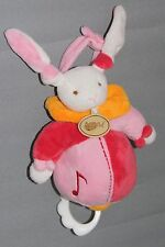 DOUDOU MUSICAL  LAPIN  ROSE ORANGE    BABY NAT'  BABYNAT' ETAT NEUF