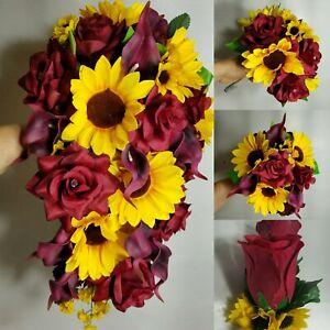 Burgundy Rose Calla Lily Sunflower Bridal Wedding Bouquet & Accessories
