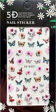5D Nagelsticker Schmetterlinge, halbe Blüten, bunt (5D-K001) selbstklebend