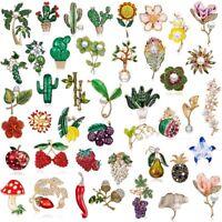 Women Crystal Flower Plant Pearl Brooch Pin Women Wedding Bouquet Jewelry Gift