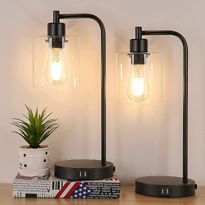 2-Pack Industrial Touch Control Table Lamp, 3 Way Dimmable 2 USB Charging Ports