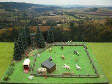 Pferdekoppel am Waldrand Modellbau Landschaftsbau Diorama H0 1:87