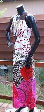 vtg 60s 70s Hawaiian barkcloth maxi DRESS mod psychedelic hippie  xs s