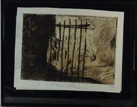 """Rudolf Rothe""""Figuren hinter einem Zaun"""" Radierung, signiert, datiert 1969"""