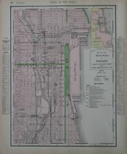 Original 1909 Elevated Electric Railroad Depot Map CHICAGO Illinois Rand McNally