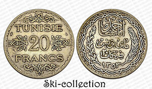 20 Francs 1934 Tunisia/Tunis. Colonies Françaises. Silver 680°