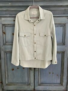 THE GREAT. The Shirt pastel blue striped cotton jacket size 3
