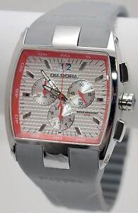 NEW Diadora DD.6087M-09 Mens Barrel Red Accent Gray Silicone Chronograph Watch