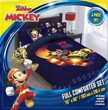 4pc Disney Mickey Mouse Roadster Full Sized Comforter Bed in a Bag Bedding Set