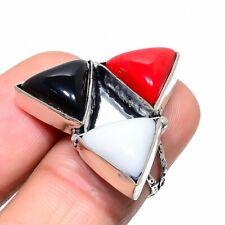 Italian Red Coral, Black Onyx Ethnic 925 Sterling Silver Jewelry Ring Size 6