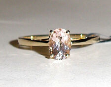10K Yellow Gold Pink Morganite Oval Solitaire Ring, Size 8, 0.98(TCW) 1.53GR