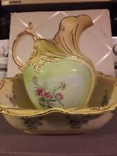 Vintage Large Oblong Wash Bowl Set Yellow and Lime Green  Gold trim