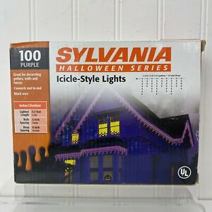 Sylvania Halloween Series 100ct Purple Icicle-Style Lights Holiday Thanksgiving