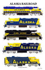 "Alaska Railroad Locomotives 11""x17"" Poster by Andy Fletcher signed"
