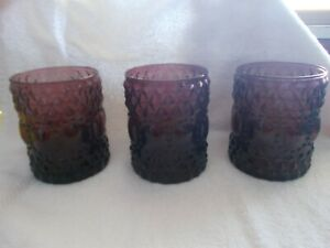 3 Purple Glass Candle Holders For Pillars or Votives Diamond & Circle Design