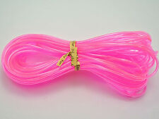 10 Meter Transparent Pink Color 2mm Hollow Rubber Tubing Cord Cover Memory Wire