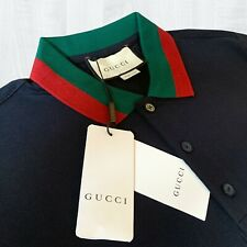 GUCCI Men's Cotton Polo Shirt with Web Collar Size