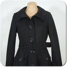 H & M Women's Black Coat Jacket, Wool Blend Button Front Two Flop Pockets size 4